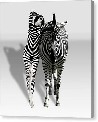 Zebra Woman Canvas Print by Lloyd Burchell