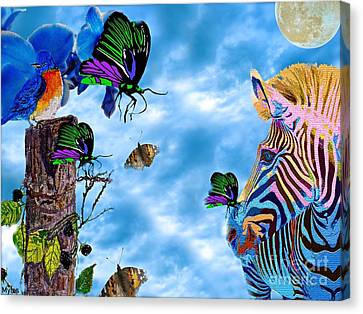 Zebras Birds And Butterflies Good Morning My Friends Canvas Print by Saundra Myles
