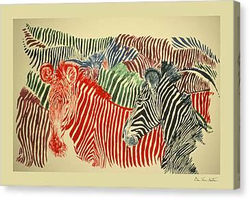 Zebras Of A Different Color Canvas Print