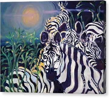Zebras On The Savanna Canvas Print