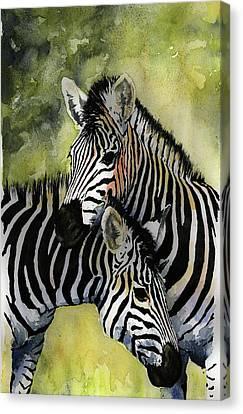 Zebras Canvas Print by Roger Bonnick