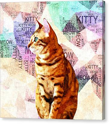 Zen Cat Canvas Print by Stacey Chiew