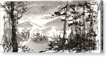 Canvas Print featuring the painting Zen Ink Landscape 2 by Sean Seal