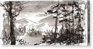 Zen Ink Landscape 2 Canvas Print by Sean Seal