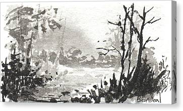 Canvas Print featuring the painting Zen Ink Landscape 3 by Sean Seal