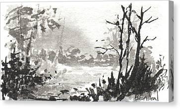 Zen Ink Landscape 3 Canvas Print by Sean Seal