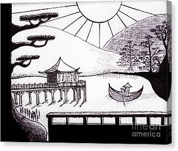 Zen Lake Original Black Ink On White Canvas By Ricardos Canvas Print by Ricardos Creations