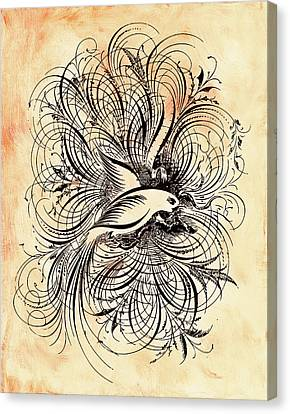 Peaches Canvas Print - Zen Ornamental Dove Minimalism by Georgiana Romanovna