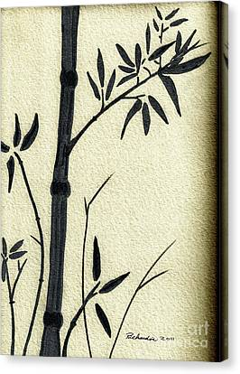 Zen Sumi Antique Bamboo 1a Black Ink On Fine Art Watercolor Paper By Ricardos Canvas Print