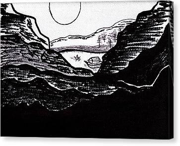 Zen Sumi Midnight Mountain Lake Original Black Ink On White Canvas By Ricardos Canvas Print by Ricardos Creations