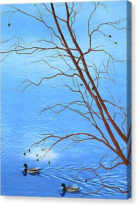 Zen Tree - Autumn Waterscape Canvas Print by Rayanda Arts