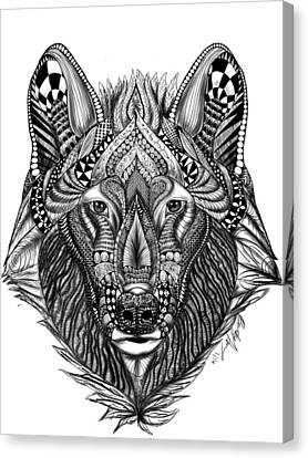 Zendoodle Wolf Canvas Print by Becky Herrera