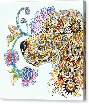 Zentangle Cocker Spaniel Canvas Print by Joan Williams