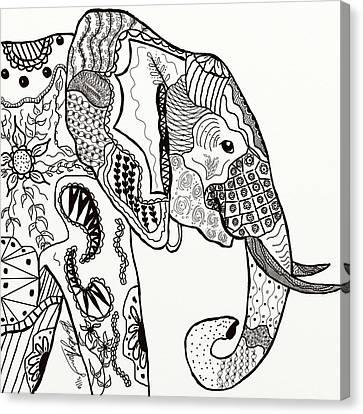 Zentangle Elephant Canvas Print by Becky Herrera