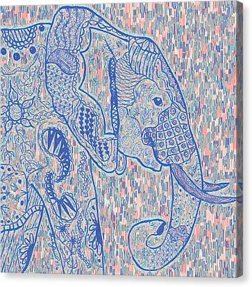 Zentangle Elephant-oil Canvas Print by Becky Herrera