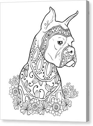 Zentangle Boxer Canvas Print by Cindy Elsharouni