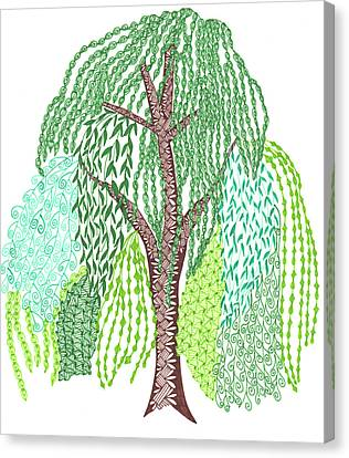 Zentangled Willow Tree Canvas Print by Sharon White