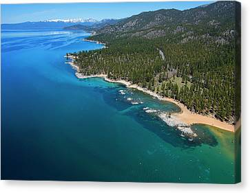 Canvas Print featuring the photograph Zephyr Cove To Cave Rock Aerial by Brad Scott