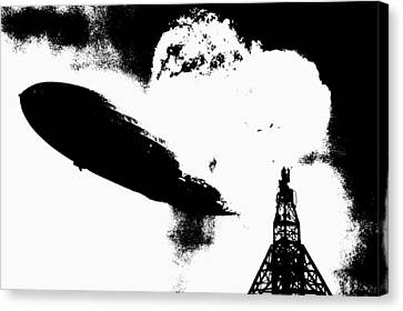 Zeppelin Hindenburg Explosion Graphic Canvas Print by War Is Hell Store