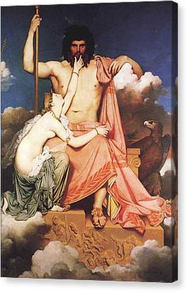 Zeus And Thetis  Canvas Print by Jean Auguste Dominique Ingres