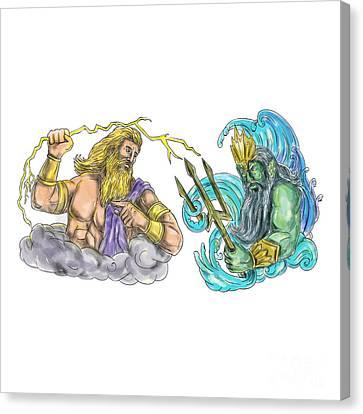 Zeus Thunderbolt Vs Poseidon Trident Tattoo Canvas Print by Aloysius Patrimonio