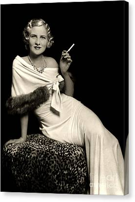 Ziegfeld Model Reclining In Evening Dress  Holding Cigarette By Alfred Cheney Johnston Canvas Print