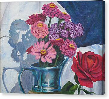 Zinnias And Rose In The Eveing Light  Canvas Print by Judy Loper