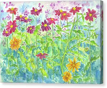 Canvas Print featuring the painting Zinnias  by Cathie Richardson