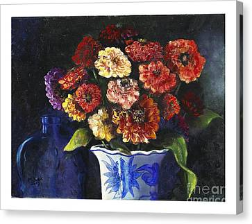 Canvas Print featuring the painting Zinnias by Marlene Book