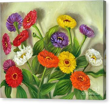 Canvas Print featuring the painting Zinnias by Randol Burns