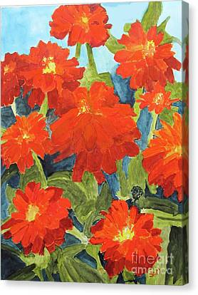 Canvas Print featuring the painting Zinnias by Sandy McIntire