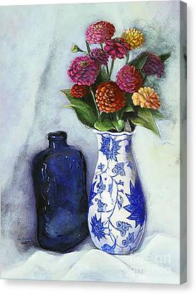 Canvas Print featuring the painting Zinnias With Blue Bottle by Marlene Book