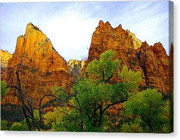 Zion In Autumn Canvas Print by Dennis Hammer