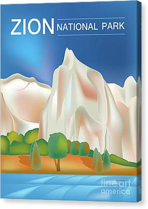 Zion National Park Vertical Scene Canvas Print