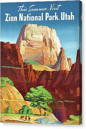 Zion National Park - Vintage Travel Poster Canvas Print by Ipa
