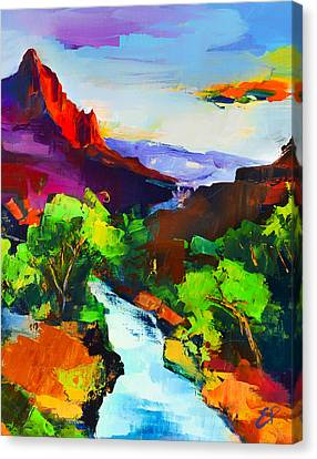 Zion - The Watchman And The Virgin River Canvas Print by Elise Palmigiani