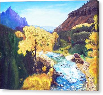 Zion's In Autumn Canvas Print by Sherril Porter