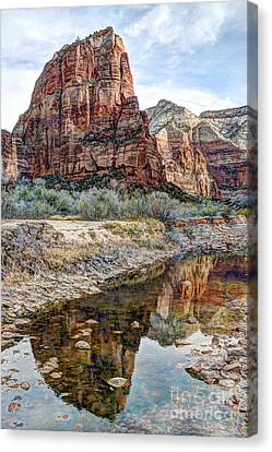 Zions National Park Angels Landing - Digital Painting Canvas Print
