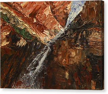 Zions Waterfall Canvas Print by Jane Autry