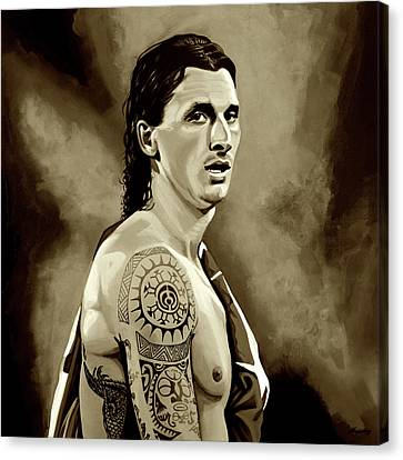 Zlatan Ibrahimovic Sepia Canvas Print by Paul Meijering