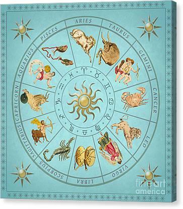 Astronomical Canvas Print - The Zodiac Wheel by Grigorios Moraitis