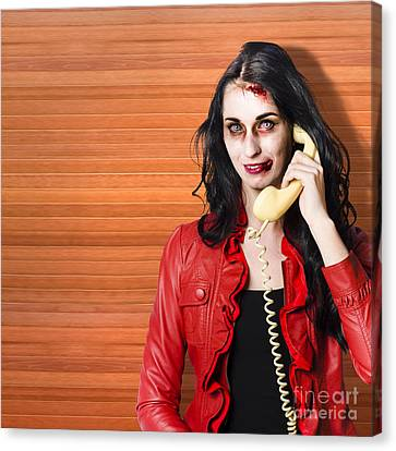 Zombie Call Centre Worker Cold Calling On Phone Canvas Print by Jorgo Photography - Wall Art Gallery