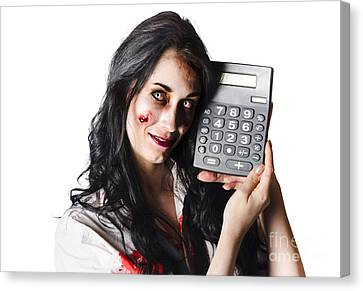 Debt Canvas Print - Zombie Finance Worker With Calculator by Jorgo Photography - Wall Art Gallery