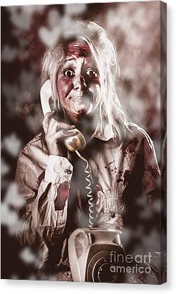 Zombie Girl Making Phone Call To Dead Valentine Canvas Print by Jorgo Photography - Wall Art Gallery
