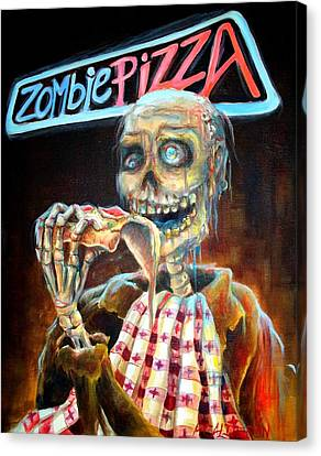 Zombie Pizza Canvas Print by Heather Calderon