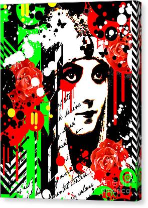 Pop Culture Canvas Print - Zombie Queen Roses by Chris Andruskiewicz