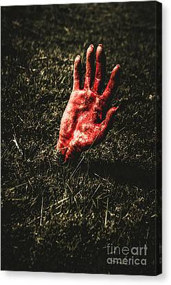 Zombie Rising From A Shallow Grave Canvas Print by Jorgo Photography - Wall Art Gallery