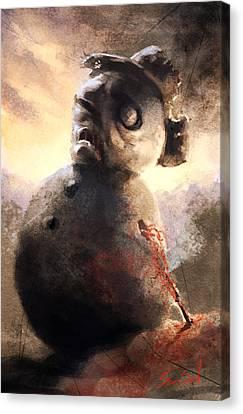 Zombie Snowman Canvas Print by Sean Seal
