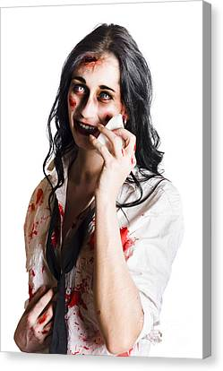 Zombie Woman Distressed Canvas Print