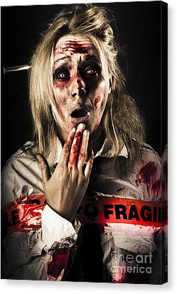 Zombie Woman Expressing Fear And Shock When Waking Canvas Print